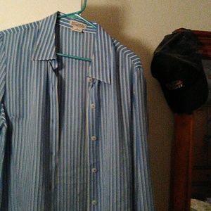 Long sleeve blue stripe button down  shirt